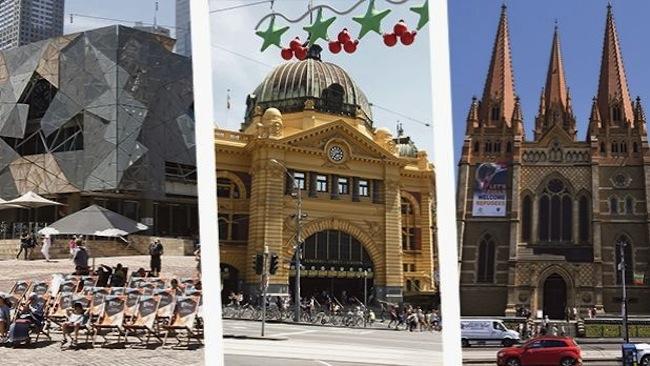 จตุรัส Federation Square, สถานีรถไฟ Flinders Street และอาสนวิหาร St Paul's Cathedral เป้าหมายการก่อการร้ายในวันคริสต์มาส : ภาพจากนสพ. The Age