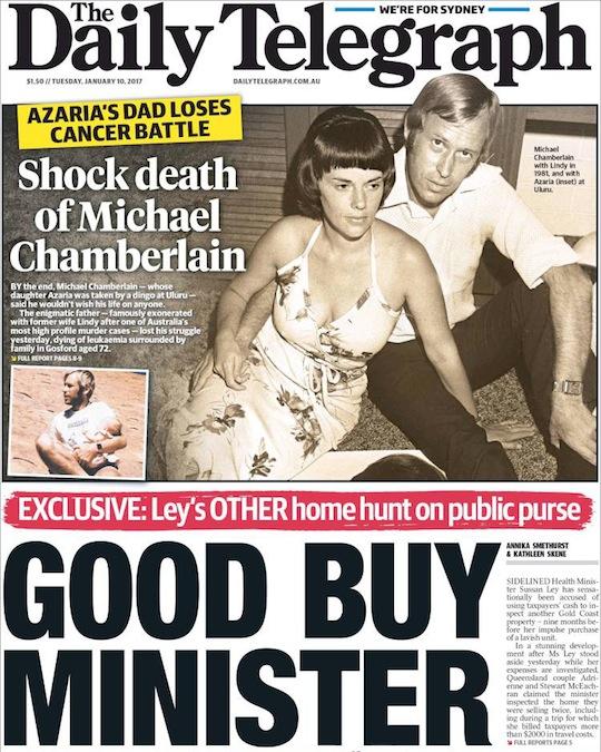 """นสพ. The Telegraph ฉบับ 10 ม.ค. 2017 พาดหัวข่าว """"ช็อกกับการเสียชีวิตของ Michael Chamberlain - บิดาของ Azaria แพ้ภัยโรคมะเร็ง"""""""