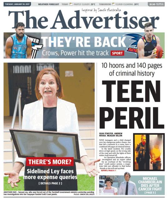 นสพ. The Advertiser ฉบับ 10 ม.ค. 2017 เป็นหนึ่งในหนังสือพิมพ์หลักหลายฉบับที่ลงข่าวนาง Sussan Ley ใช้เงินภาษีของประชาชนจ่ายค่าเดินทางส่วนตัวเพิ่มเติมจากวันก่อน