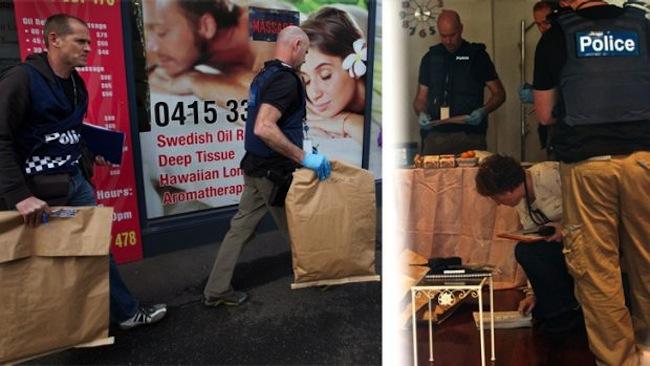 ตำรวจเข้าตรวจค้นซ่องผิดกฎหมายที่ย่าน Brunswick East ในนครเมลเบิร์น : ภาพจากนสพ. The Age