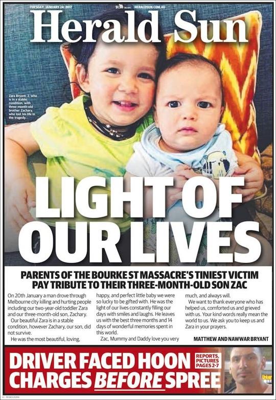 นสพ. Herald Sun ฉบับ 24 ม.ค. 2017 เปิดเผยรายชื่อทารกที่เสียชีวิตคือด.ช. Zachary Bryant (คนขวา) ส่วนอีกคนคือด.ญ. Zara Bryant พี่สาววัย 2 ขวบยังรักษาตัวอยู่ที่โรงพยาบาล