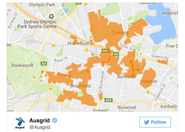 พื้นที่ที่ได้รับผลกระทบจากไฟฟ้าดับ : ภาพจากเว็บไซท์ของ Ausgrid
