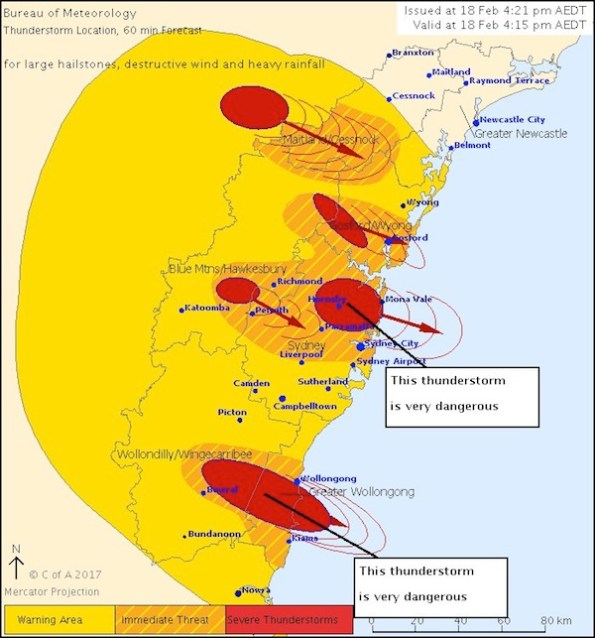 ภาพแผนที่ปกคลุมของพายุสตอร์มเซล สีเหลืองแก่คือพื้นที่เตือนภัย, สีส้มคือพื้นที่คุกคาม และสีแดงคือพื้นที่ได้รับความเสียหายจากพายุฝนฟ้าคะนองอย่างหนัก : ภาพจากสำนักงานอุตุนิยมวิทยา