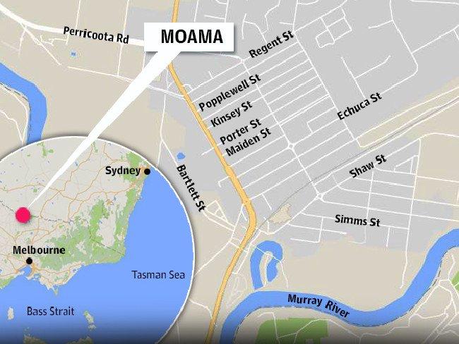 แผนที่เมือง Moama ที่เกิดเหตุ : ภาพจากนสพ. The Telegraph