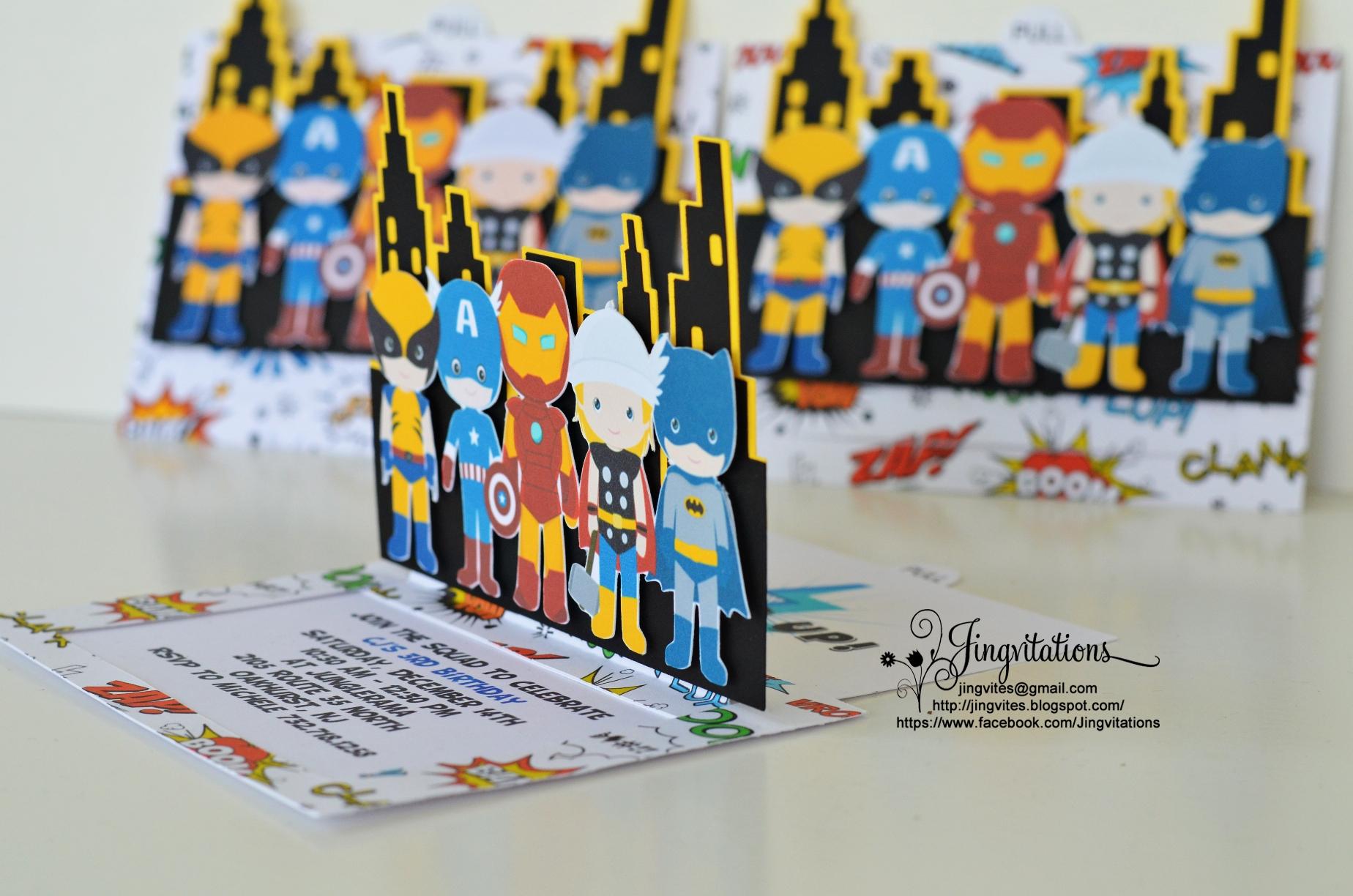 superhero invitations jingvitations