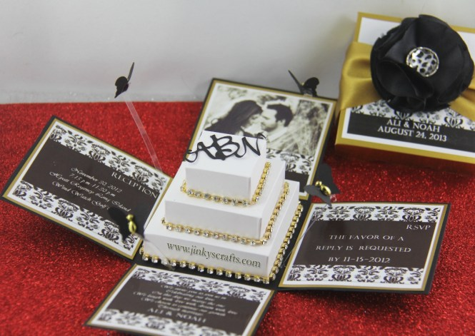 Black Gold Damask Exploding Box Wedding Invitation