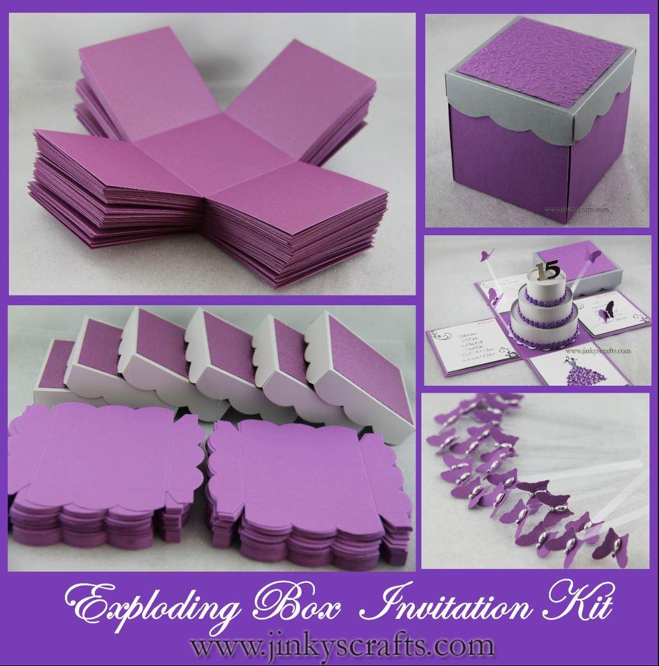 Purple Amp Silver Exploding Box W 3 Tier Cake Invitation