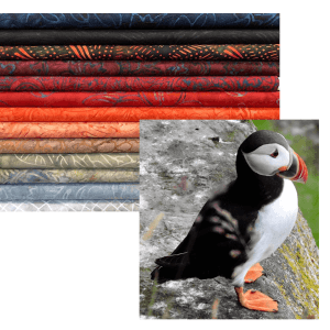 Stack of fabrics with gray to reds to blues and picture of a tropical bird with resembling colors