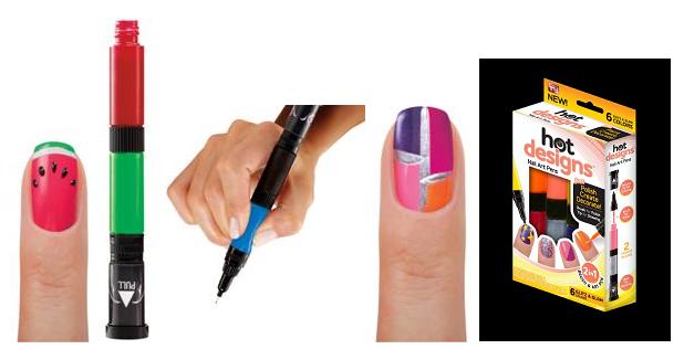 Hot Designs Nail Varnish Art Pens Pack Of 6 Colours - Nail Art Ideas