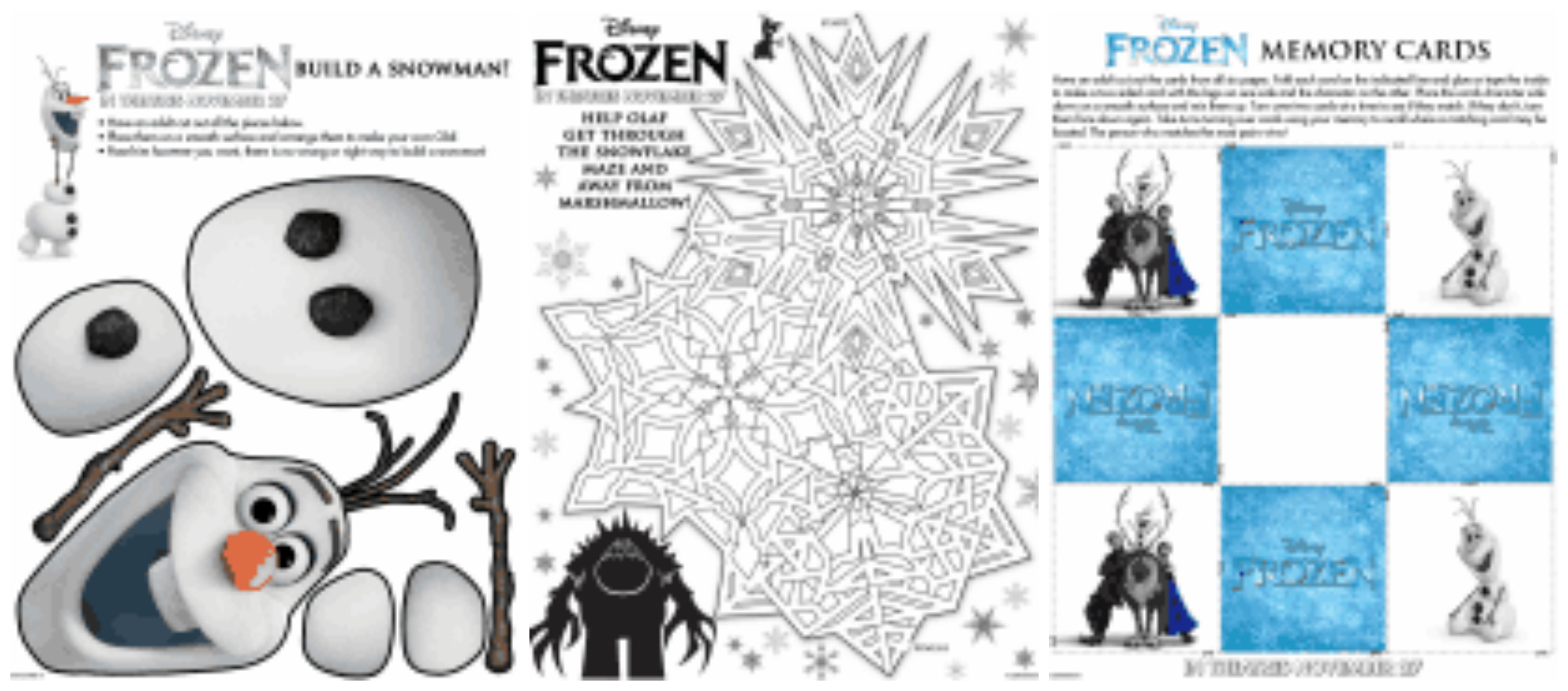 Free Disney S Frozen Printable Activity Sheets