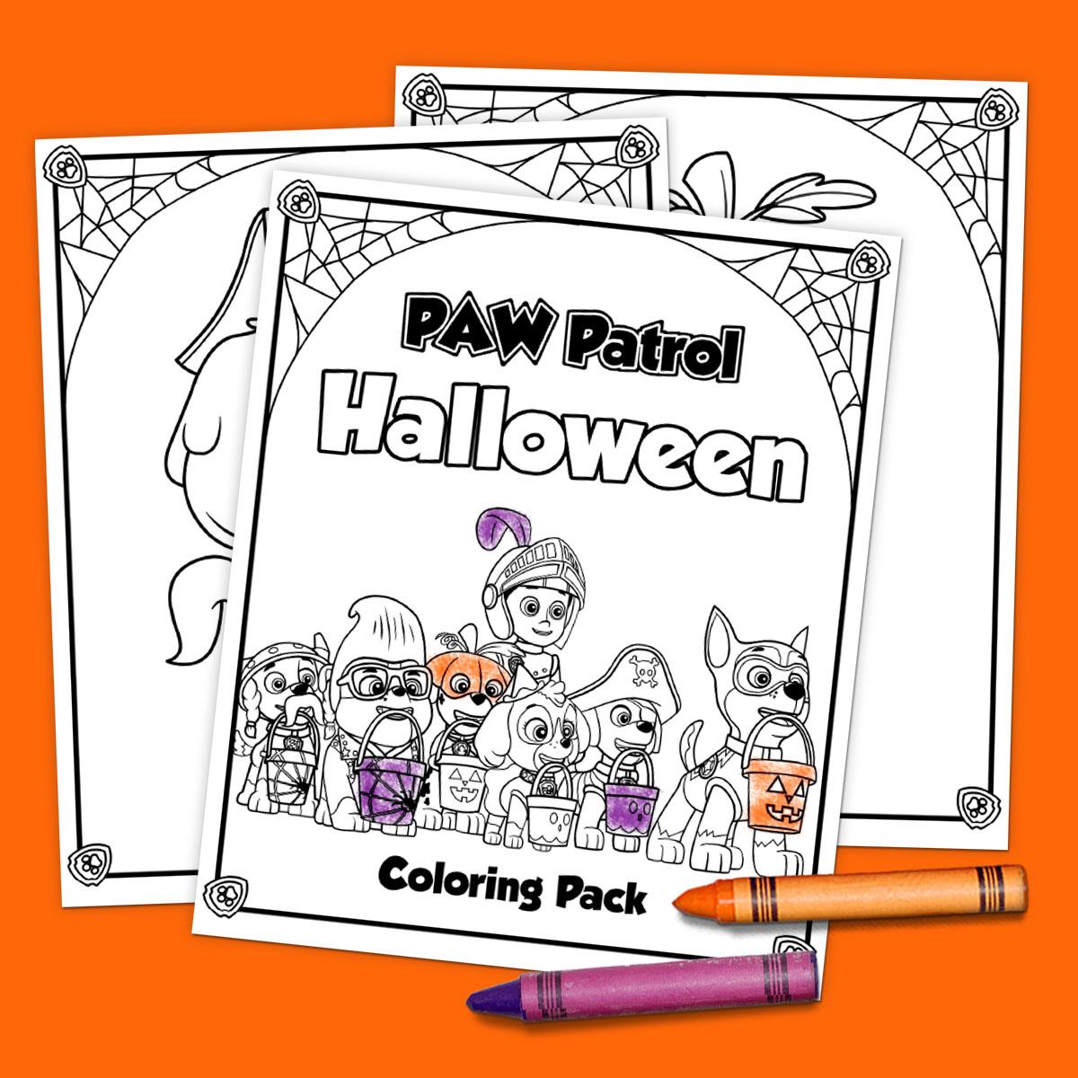 Printable Paw Patrol Halloween Coloring Pack