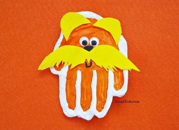 Handprint Lorax Craft with Microwave Salt Dough from Jinxy Kids