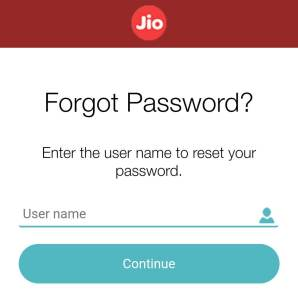 Jio forgot password