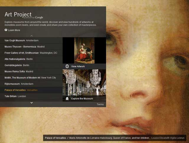 Page d'accueil Google Art Project