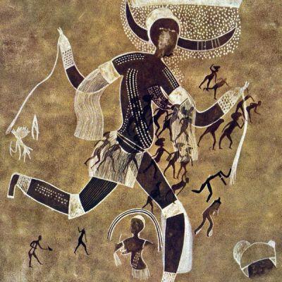 #4. Running horned woman. Tassili n'Ajjer, Algeria. 6000–4000 BCE. Pigment on rock.