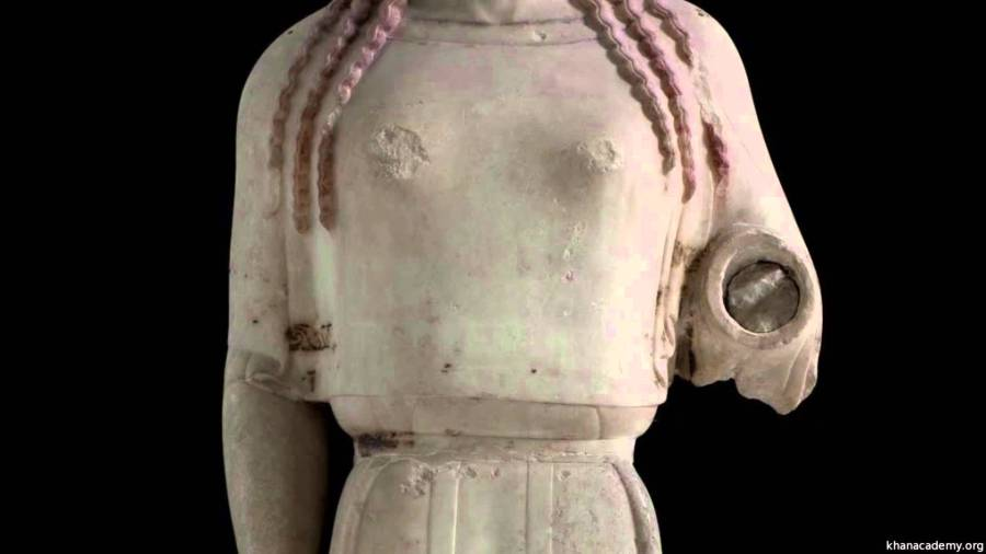 #28. Peplos Kore from the Acropolis. Archaic Greek. c. 530 BCE. Marble, painted details.
