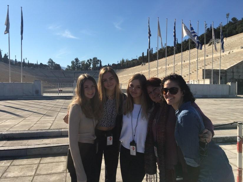 Olympic stadium with girls