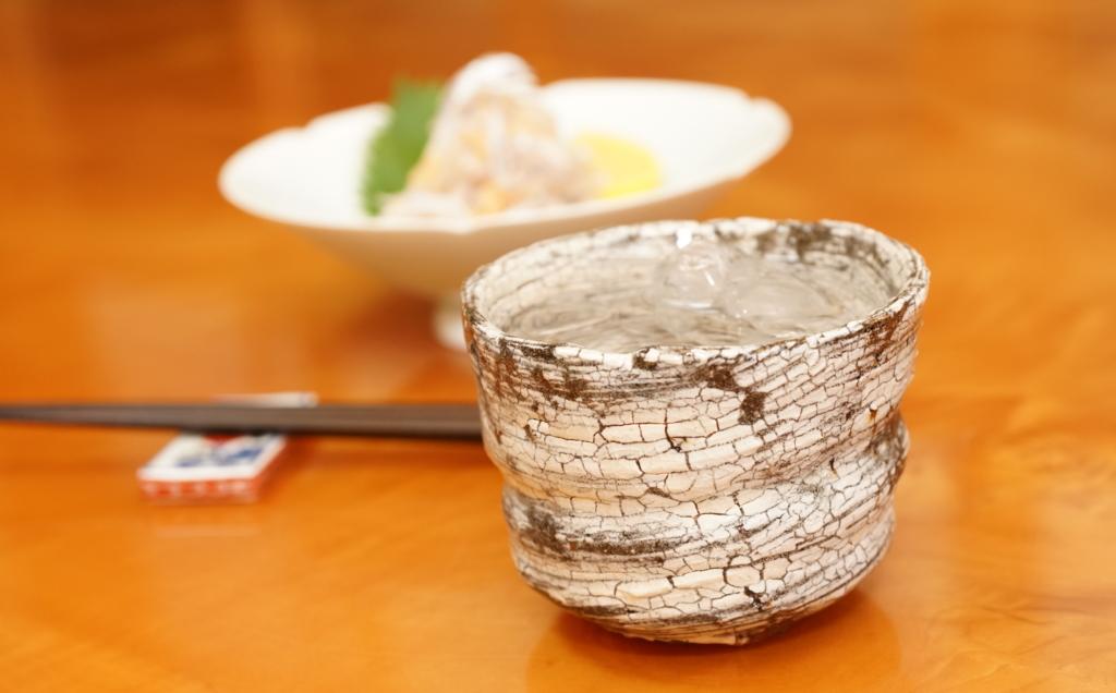 タチウオの子和えを肴に焼酎