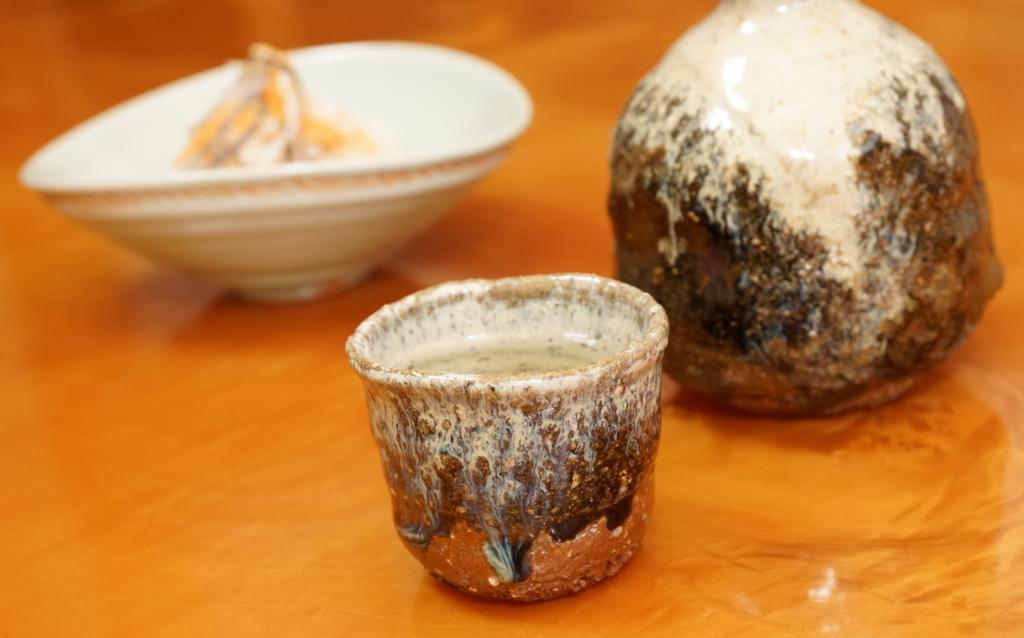 フグ皮の膾と日本酒
