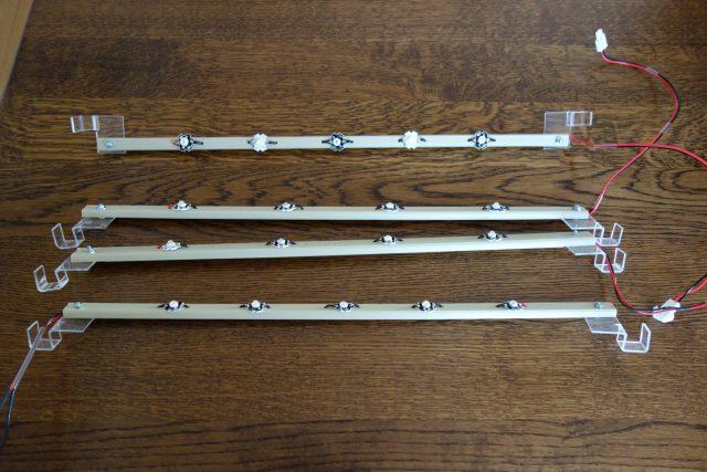 水耕栽培に使用する自作のLED照明のレール