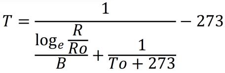 サーミスタの抵抗と温度の変換式