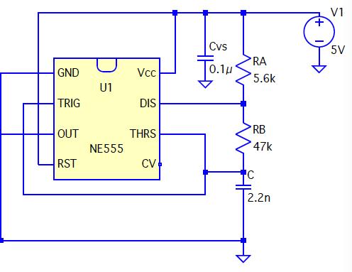 タイマーIC555の周波数の決め方