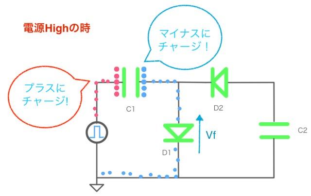 プラス電源からマイナス電源を作る様子。プラスでキャパシタをチャージしている様子。