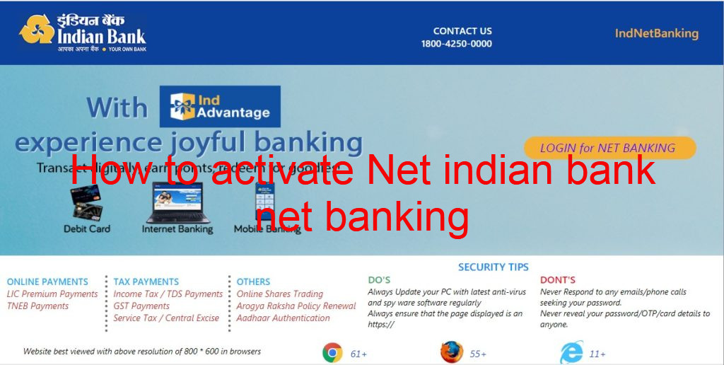 How to activate Net indian bank net banking