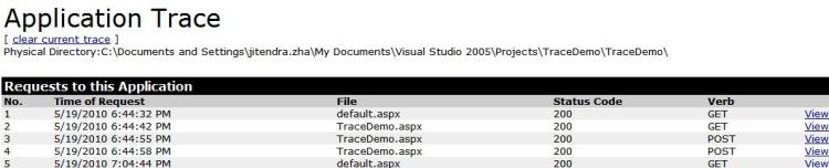 Application Trace in ASP.NET