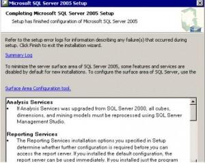 SQL Server 2005 Completing SQL Server Setup Wizard Screen