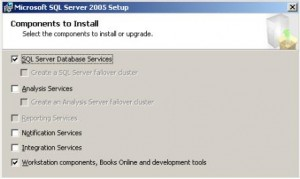 SQL Server 2005 Components to Install