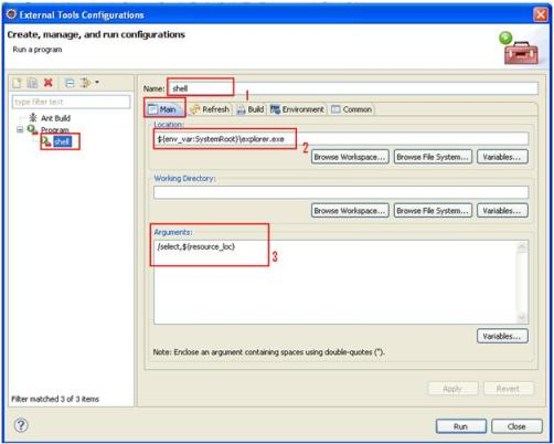 External Tools Configurations Eclipse Create New