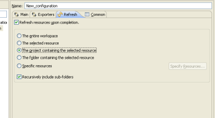 Hibernate Code Generation Wizard in Eclipse- Refresh Tab