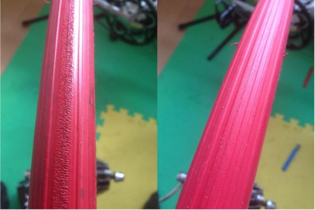 (左)5000km走ったタイヤ。寒いとローラーに食いつかず暖機が必要でした。 (右)新品。キレイです