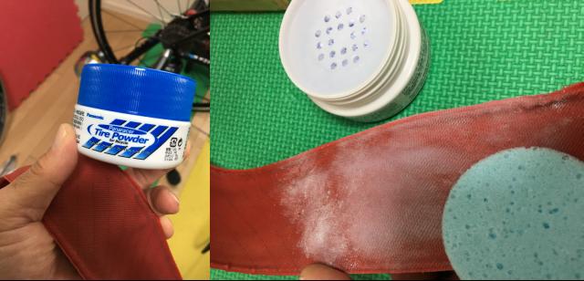 """まずはタイヤの裏面に""""タイヤパウダー""""をまんべんなく塗っておきます。 こうすることでチューブとタイヤの癒着を防ぎ、ころがり抵抗の低下に効果があるんだそうです"""