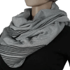 Kikoy and Fleece Infinity Scarf - Grey with Border of Black stripes