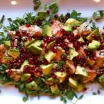 wedding menu, Asian Salmon Salad with Pea Shoots, Pomegranate and Avocado