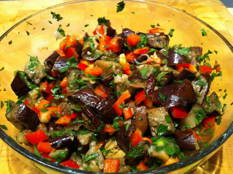 Eggplant, Red Pepper and Chili - Middle Eastern Mezze Appetizer