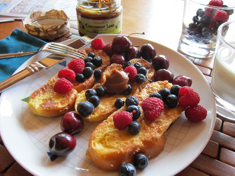 Coconut Jam French Toast with Fresh Berries