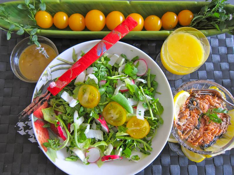 Orange Sesame Chopped Salad with Wild Salmon