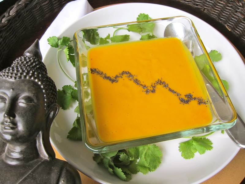 Chilled Ginger Carrot Soup with Marching Poppy Seeds