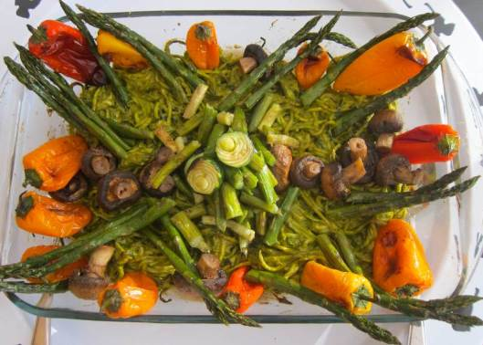 Zoodles and Roasted Veggies with Pesto