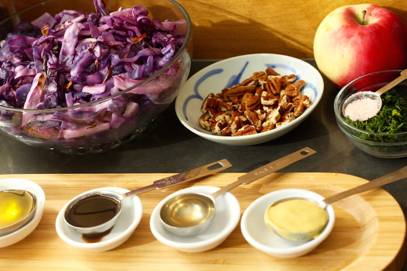Purple Roasted Cabbage Apple Salad