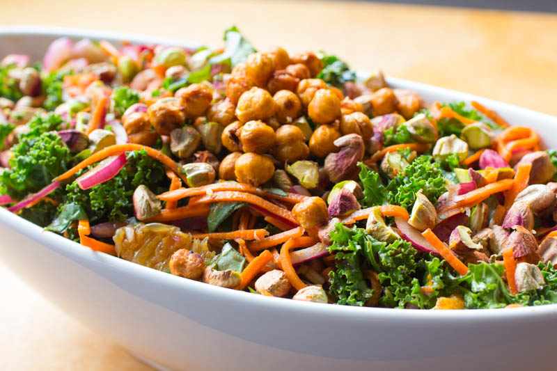 Orange Scented Kale Salad with Smoky Chickpea Croutons