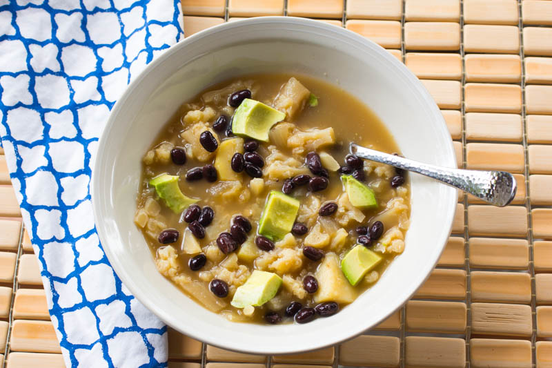 Cauliflower Black Bean Soup - Diced Avocado Garnish
