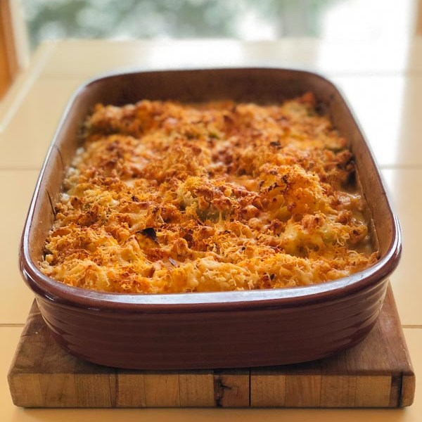 Cooked cauliflower cheese casserole