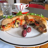 Bagel Lox Goat Cheese and Roasted Vegetables