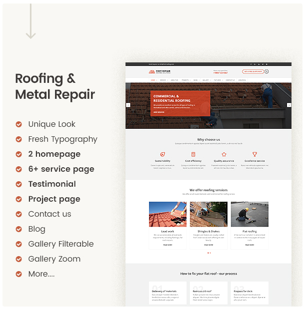 Clean and modern website template for roof and metal repair