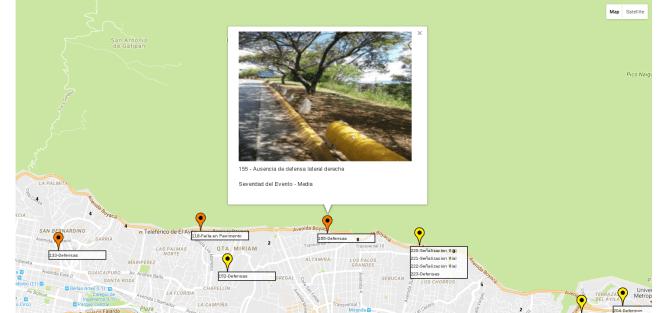 ampliación de imagen y visualización de eventos en el mapa