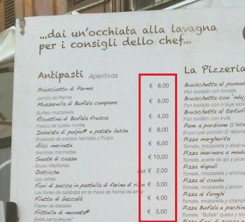 Cálculos em um café italiano barato.
